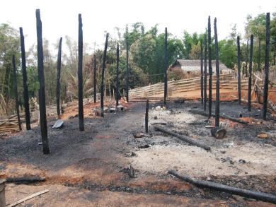 Homes burnt by the Burma Army