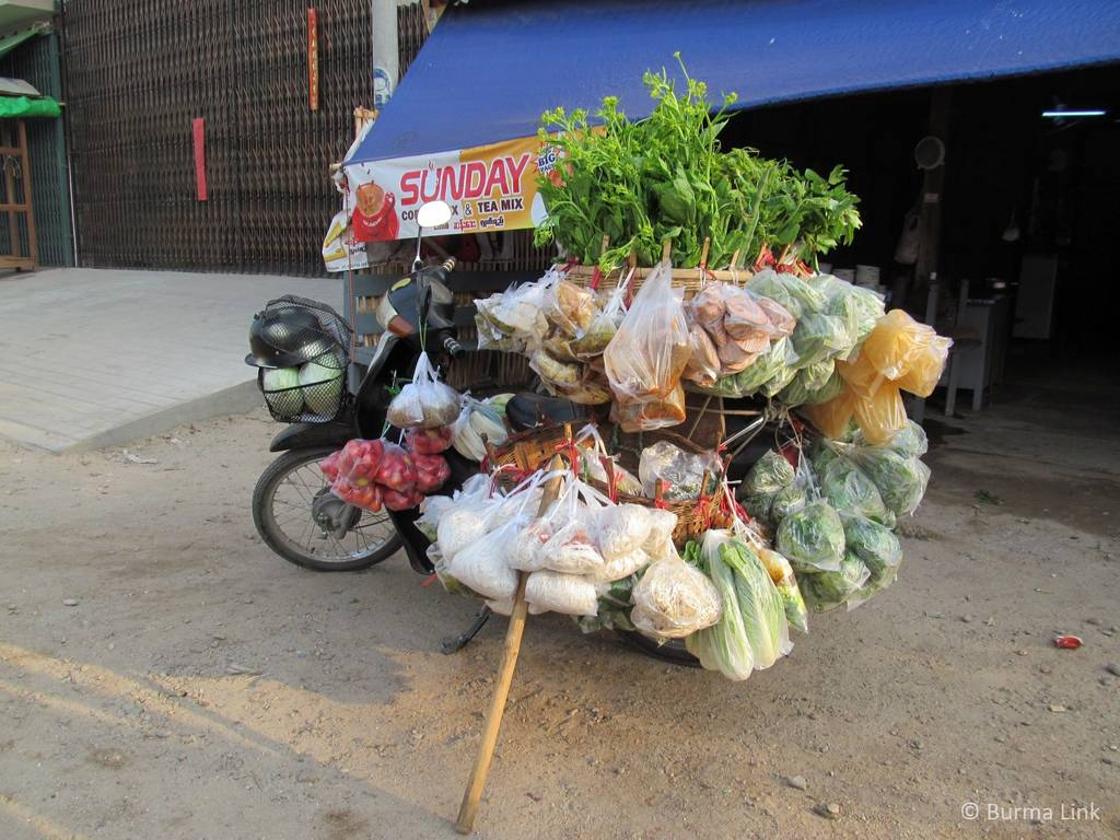 Motorbike loaded with food