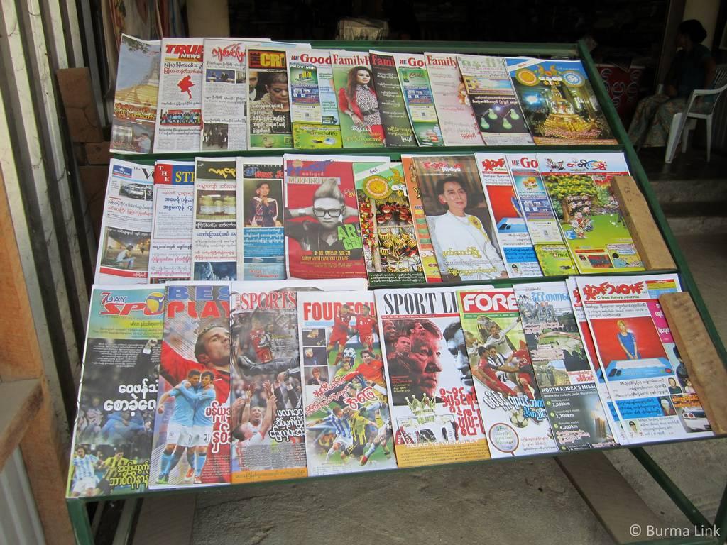 Newspaper stand in Myawaddi, Burma