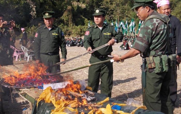 burning drugs seized from Burmese militia group