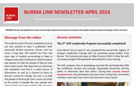 Burma Link's First Ever Newsletter is Out Now – Download Your Free Copy Today