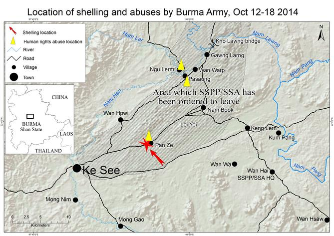 Location of shelling and abuses by burma army October 12-18, 2014