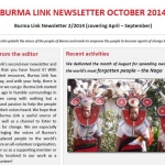 Burma Link October 2014 Newsletter Out Now – Download Your Free Copy