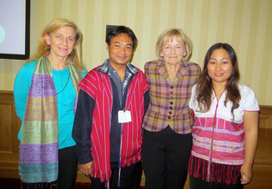 Sally Thompson, Luiz Kaypoe, Baroness Glenys Kinnock and Naw Ta Mla Saw in the British Parliament. (Photo: KWO)