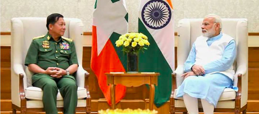 Myanmar military chief Snr-Gen Min Aung Hlaing (left) meets Indian PM Narendra Modi (right) on July 14 at the Prime Minister's residence. / Senior General Min Aung Hlaing / Facebook